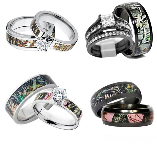 For Couple Matching Camouflage Wedding Rings