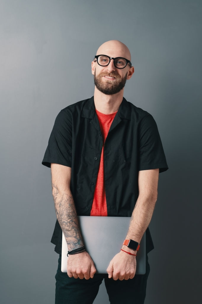 Young Bald man with Beard Style