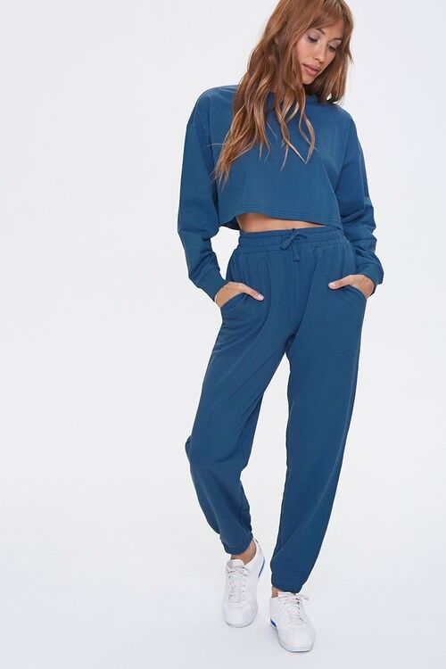 Long sleeve crew neck top and jogger set