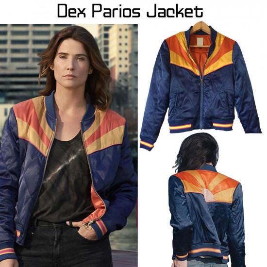 Cobie Smulders Stumptown Dex parios blue bomber jacket