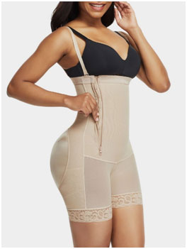 Open Bust Body Shaper With Side Zip